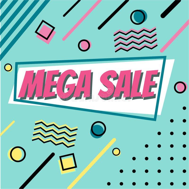 Conception de bannière de vente Bannière sociale de médias avec des éléments de style de Memphis et la forme géométrique abstrait illustration libre de droits