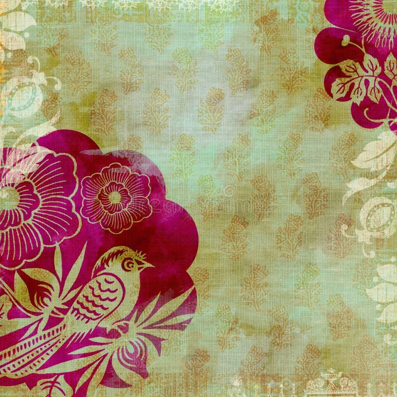 conception de batik de fond d'artisti florale illustration de vecteur