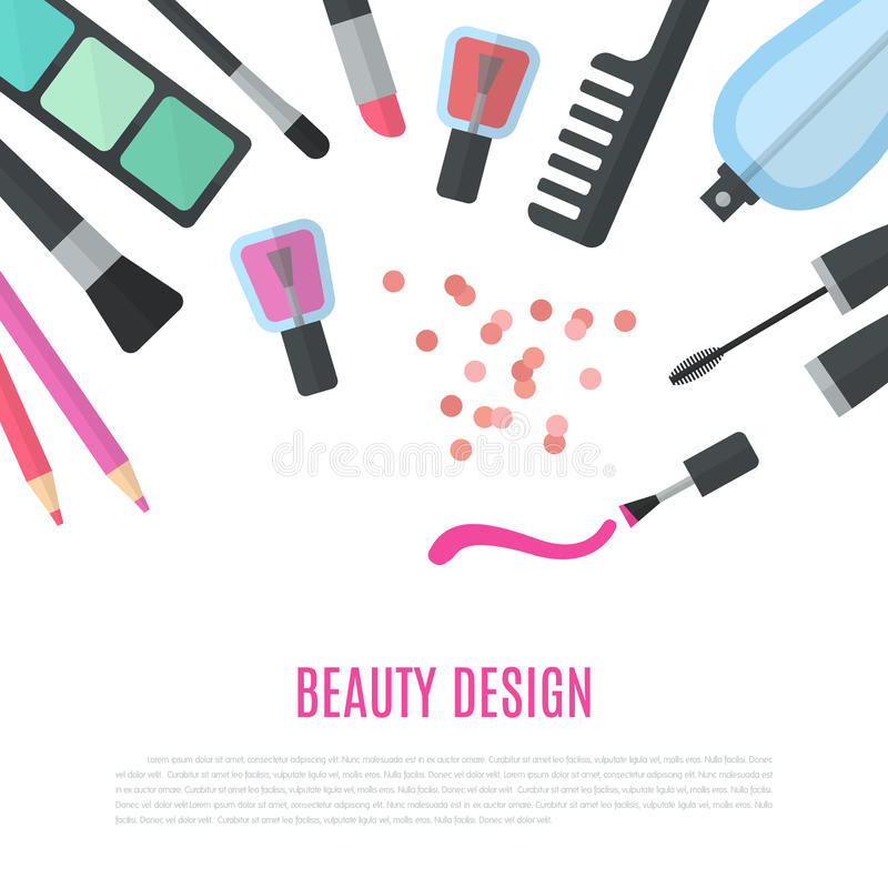 Conception de beauté Accessoires cosmétiques pour le maquillage illustration de vecteur