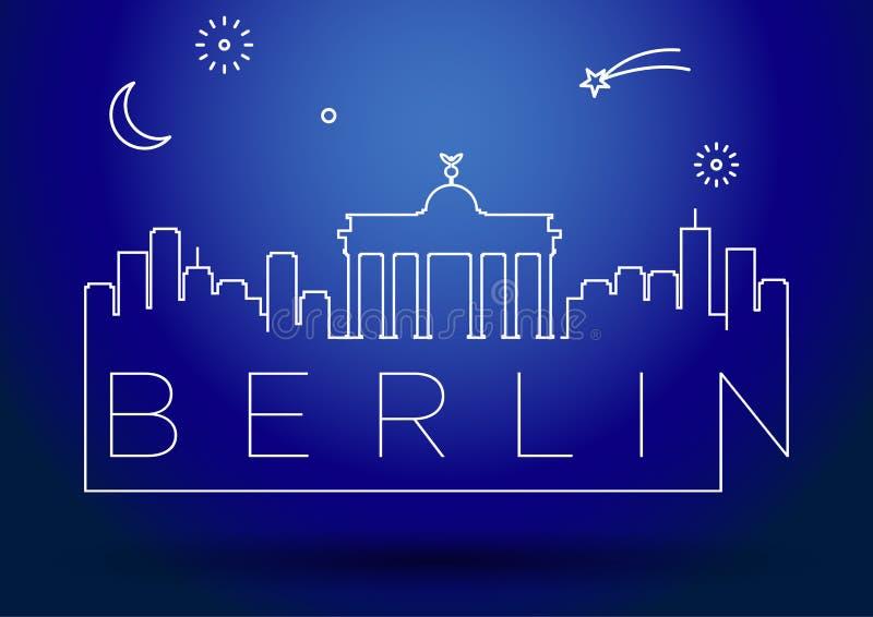Conception de Berlin City Line Silhouette Typographic illustration de vecteur