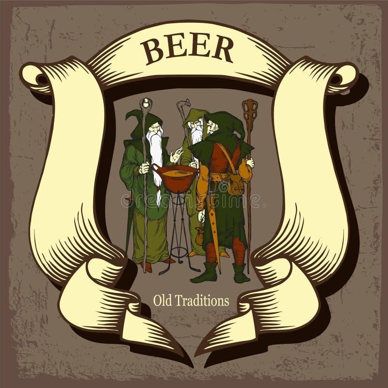 Conception de bière avec des magiciens d'arbre illustration stock