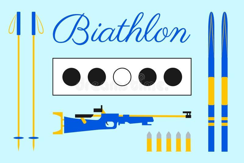 Conception de biathlon Cible, ski, cartouches, fusil, bâtons, marquant avec des lettres le texte Ensemble d'équipement de biathlo illustration libre de droits