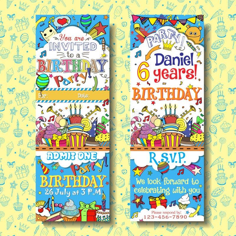 Conception de billet de passage d'invitation de fête d'anniversaire illustration libre de droits