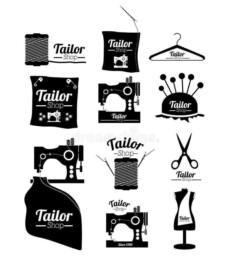 Conception de boutique de tailleur illustration stock