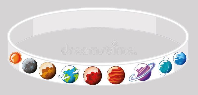 Conception de bracelet avec différentes planètes illustration stock