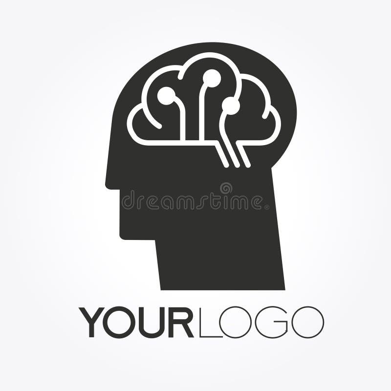 Conception de Brain Tech Mind Data Logo illustration libre de droits