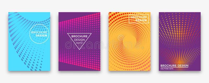 Conception de brochure avec les points tramés et les gradients au néon illustration de vecteur