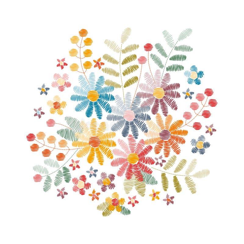 Conception de broderie avec de belles fleurs, feuilles et baies Bouquet coloré sur le fond blanc illustration stock