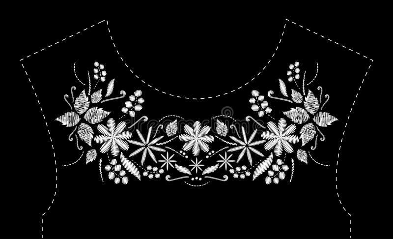 Conception de broderie de point de satin avec des fleurs Ligne folklorique modèle à la mode floral pour l'encolure de robe Noir e illustration stock