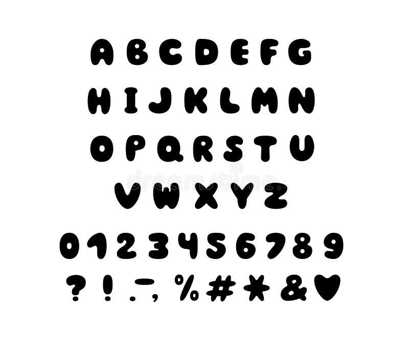Conception de bulle d'alphabet Lettres, nombres et signes de ponctuation Typographie de vecteur de police ENV 10 illustration de vecteur
