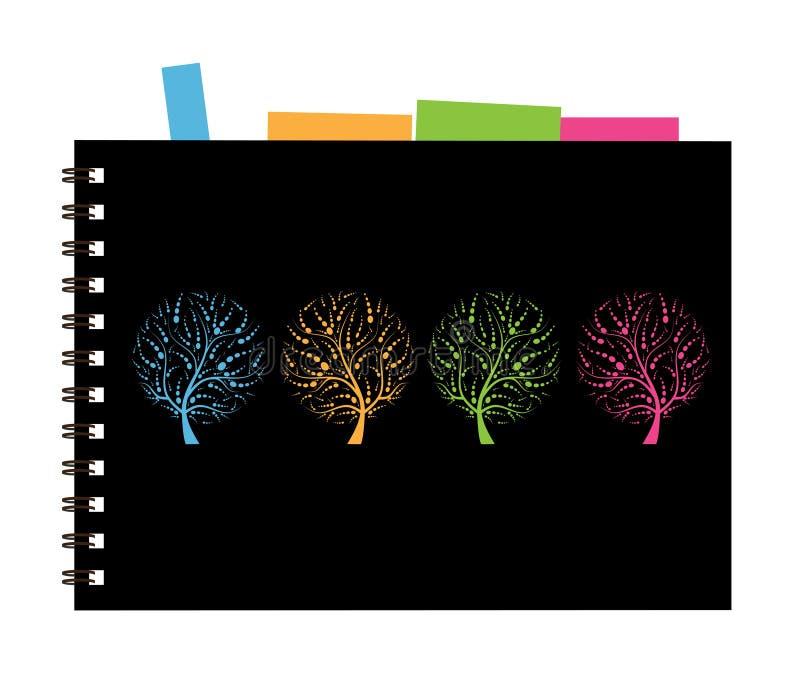 Conception de cache de cahier, arbre d'art illustration de vecteur