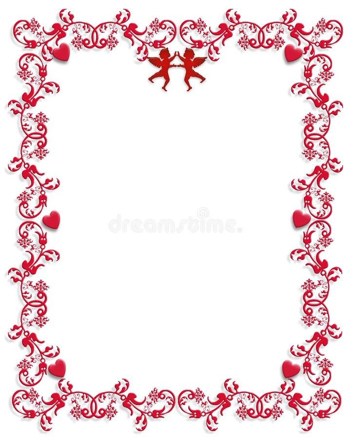 Conception de cadre de coeurs de Valentine illustration de vecteur