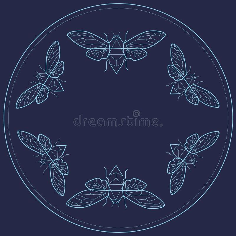Conception de cadre de vintage avec des insectes Schéma plat photo libre de droits