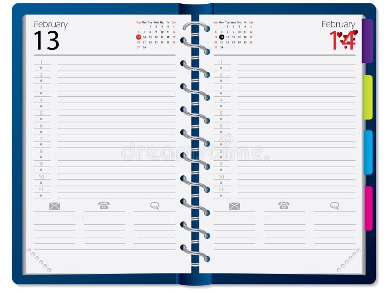 Conception de cahier avec le calendrier illustration stock