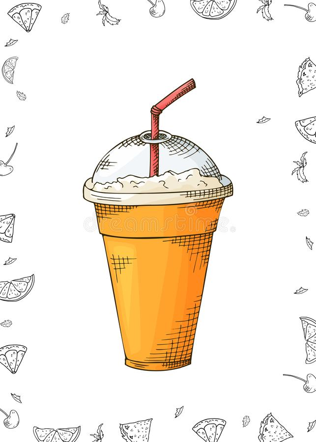 Conception de calibre avec le smoothie pour la bannière, brochure Secousse de fruit organique avec des ingrédients Illustration d illustration libre de droits