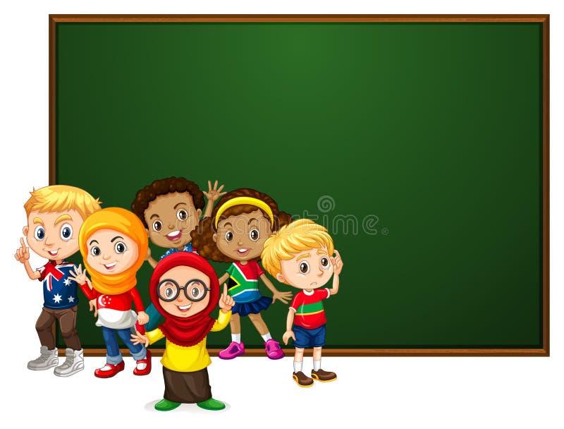 Conception de calibre de bannière avec beaucoup d'enfants par le conseil illustration de vecteur
