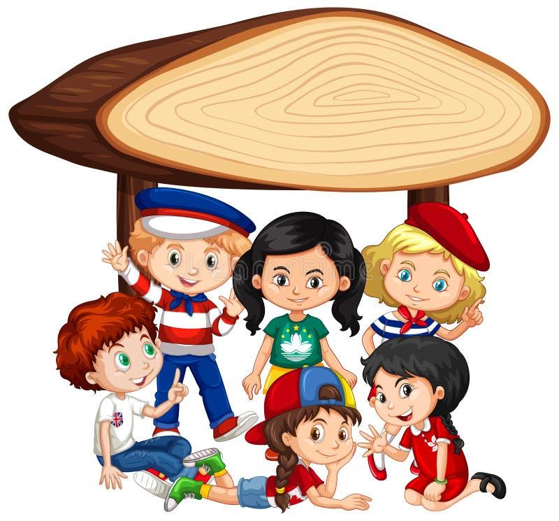Conception de calibre de bannière avec beaucoup d'enfants sous le signe en bois illustration libre de droits