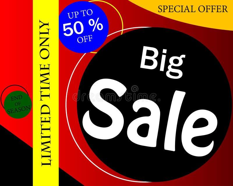 Conception de calibre de bannière de vente, grande vente jusqu'à 50%, offre spéciale en illustration libre de droits