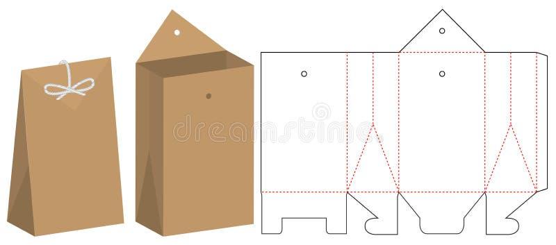 Conception de calibre découpée avec des matrices par emballage de sac de papier maquette 3d illustration de vecteur