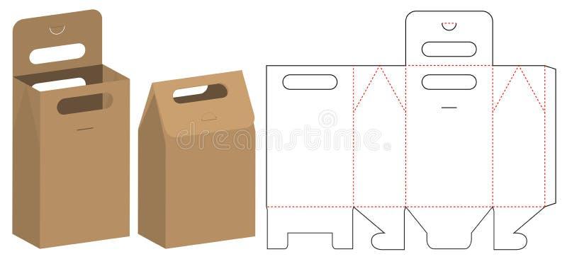 Conception de calibre découpée avec des matrices par emballage de sac de papier maquette 3d illustration libre de droits
