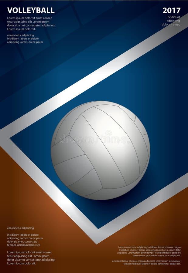 Conception de calibre d'affiche de tournoi de volleyball illustration libre de droits