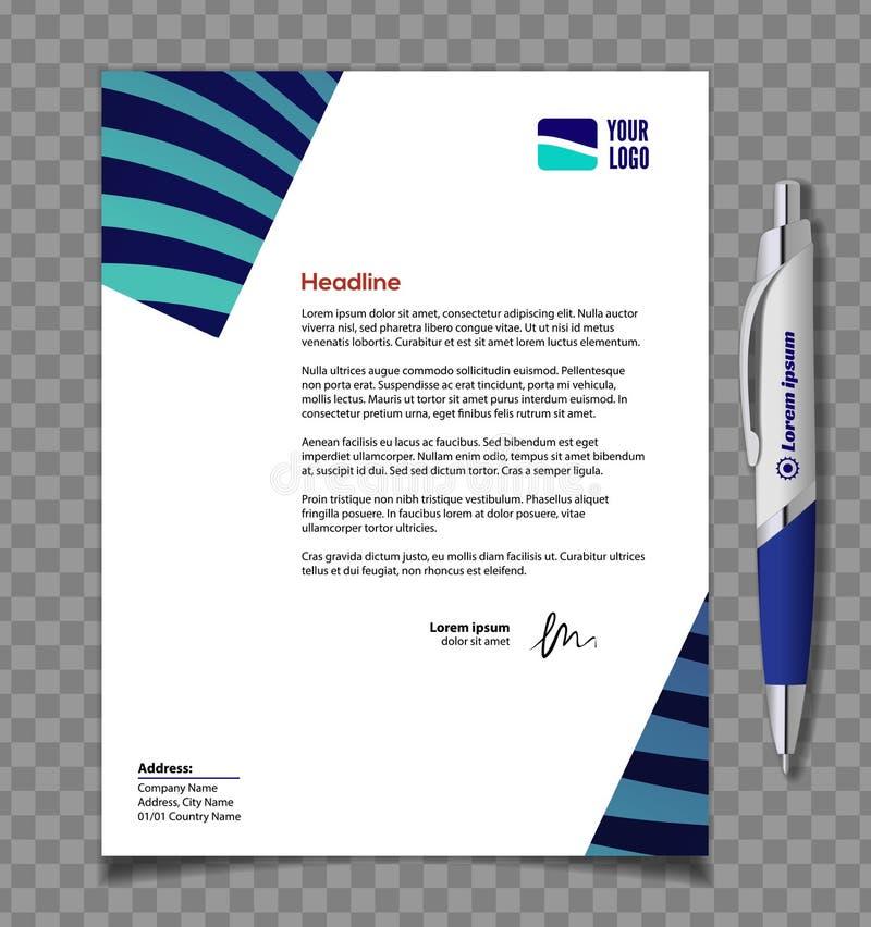 Conception de calibre d'en-tête de lettre dans le style minimaliste et le stylo Illustration de vecteur illustration stock