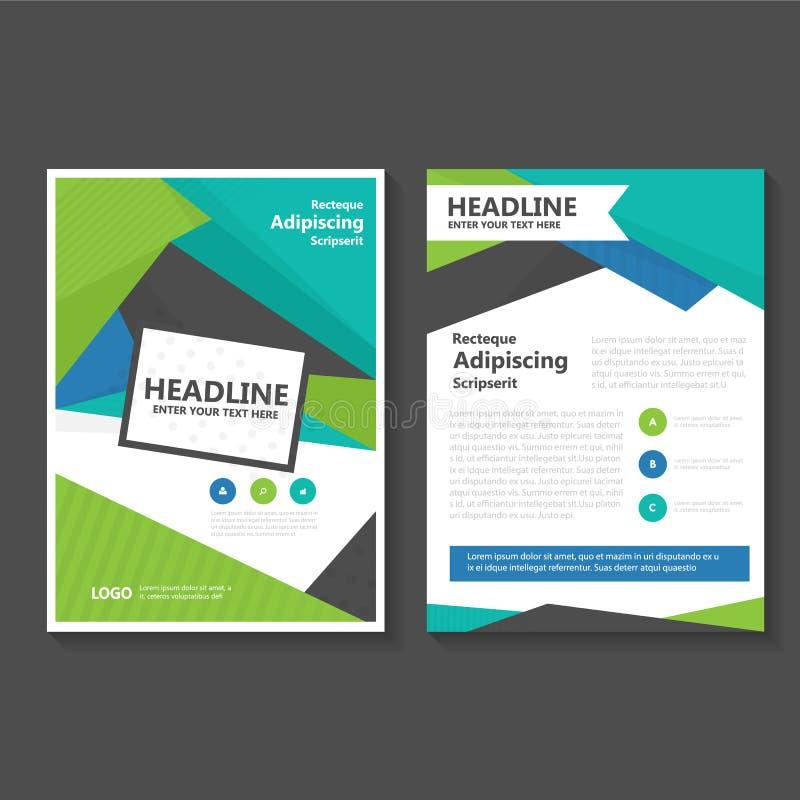 Conception de calibre d'insecte de brochure de tract de vecteur de vert bleu, conception de disposition de couverture de livre, c illustration libre de droits