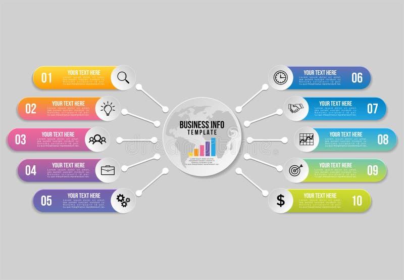 Conception de calibre d'?l?ments d'Infographics de vecteur La chronologie de visualisation de donn?es commerciales avec des ic?ne illustration stock