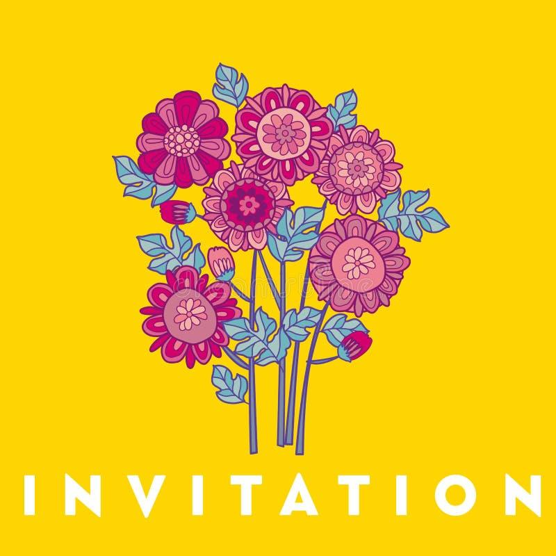 Conception de calibre de carte de fleur de Merygold illustration décorative florale de vecteur d'aster la fleur de chute dans la  illustration libre de droits