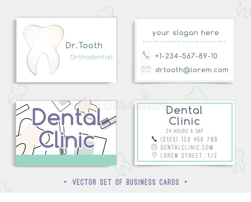 Conception de calibre de carte de visite professionnelle de visite pour votre clinique dentaire illustration de vecteur