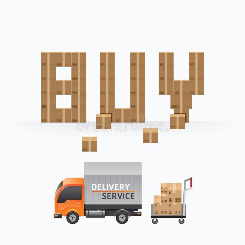Conception de calibre de forme d'achat de boîte d'affaires achats de la livraison d'expédition illustration libre de droits