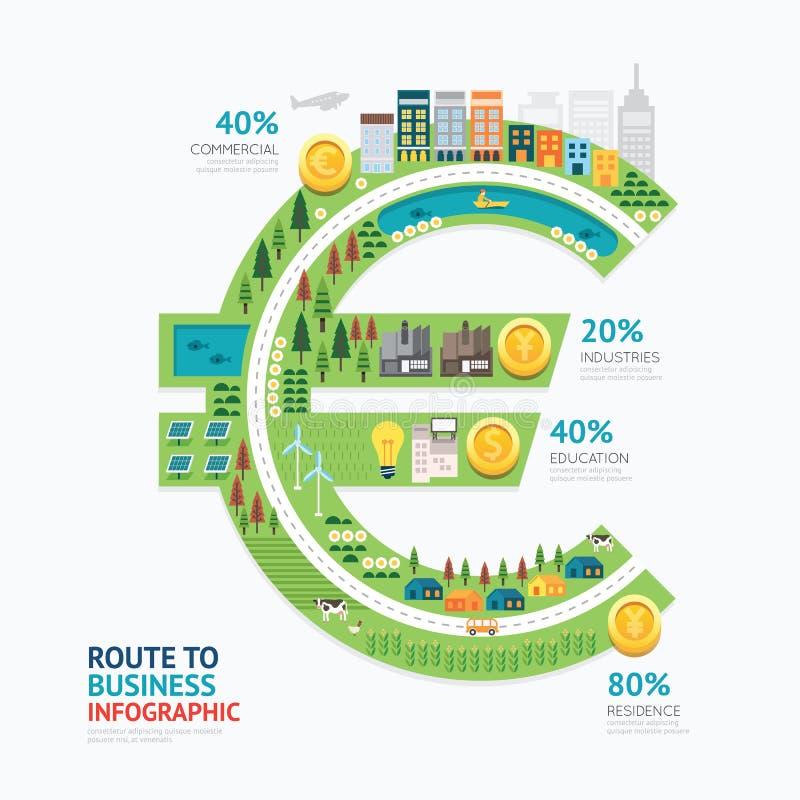 Conception de calibre de forme d'argent d'affaires d'Infographic euro itinéraire à s illustration libre de droits