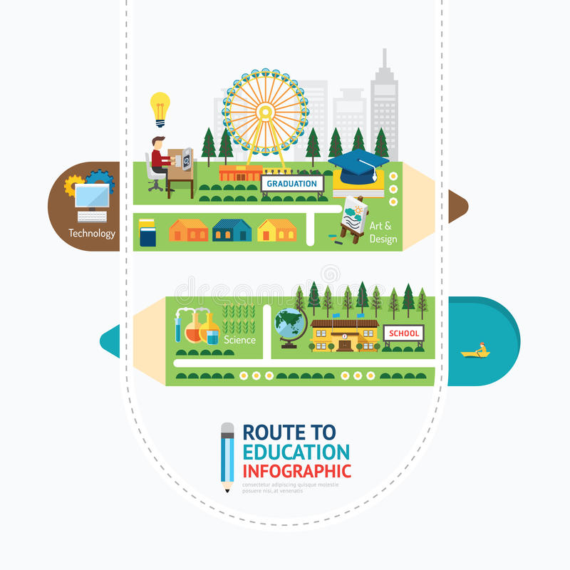 Conception de calibre de forme de crayon d'éducation d'Infographic Apprenez le concept illustration stock