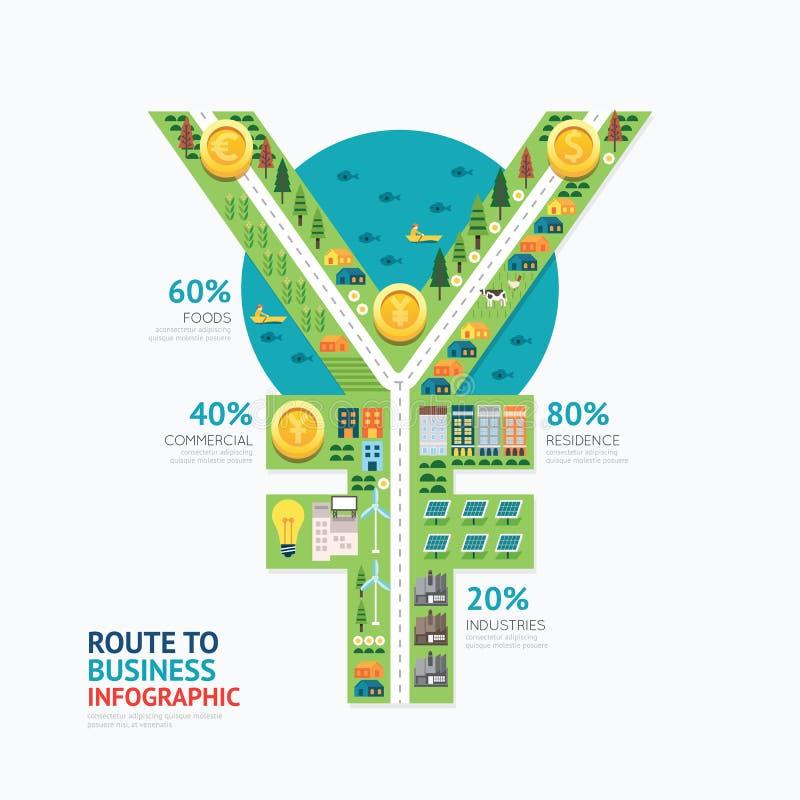 Conception de calibre de forme de Yens d'argent d'affaires d'Infographic illustration libre de droits