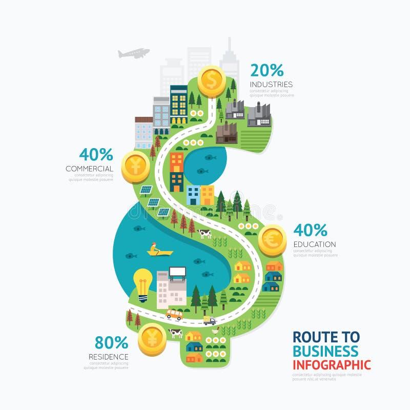 Conception de calibre de forme du dollar d'argent d'affaires d'Infographic itinéraire à illustration stock