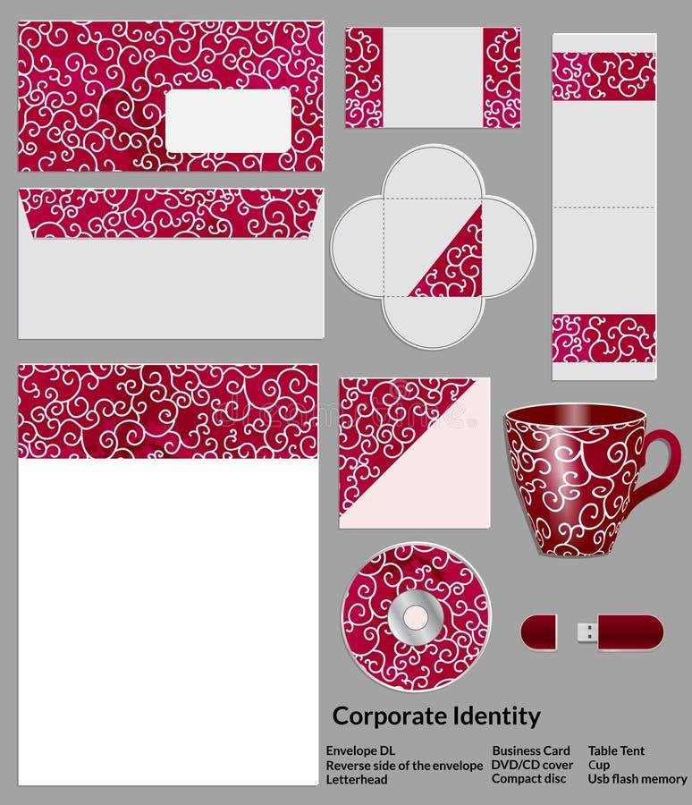 Conception de calibre de papeterie avec des éléments de style chinois Documentation pour des affaires illustration stock
