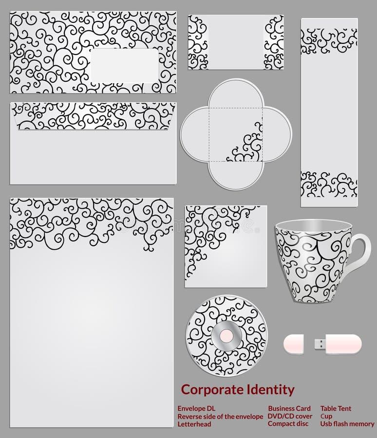 Conception de calibre de papeterie avec le modèle noir des boucles Ensemble d'échantillons pour les affaires de sociétés illustration stock