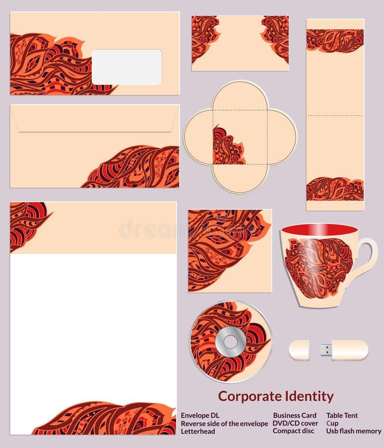 Conception de calibre de papeterie avec les modèles ethniques de zentangle dans des couleurs de henné Ensemble d'échantillons pou illustration stock