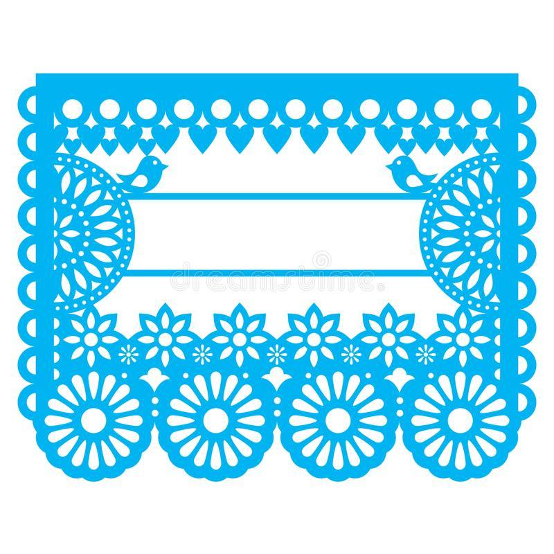 Conception de calibre des textes de blanc de Papel Picado de Mexicain - modèle traditionnel de guirlande de vecteur avec le modèl illustration de vecteur