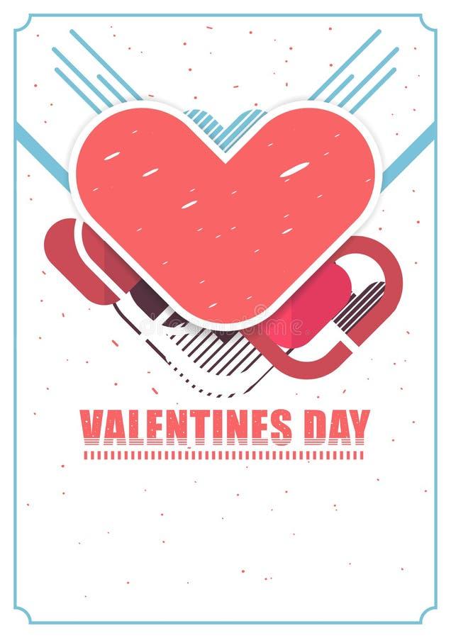 Conception de calibre de disposition d'insecte de valentines de coeur, design de carte de vecteur d'amour illustration libre de droits