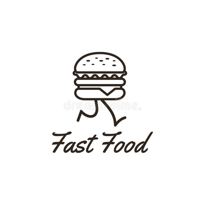 Conception de calibre de logo d'aliments de préparation rapide avec un hamburger courant Illustration de vecteur illustration stock