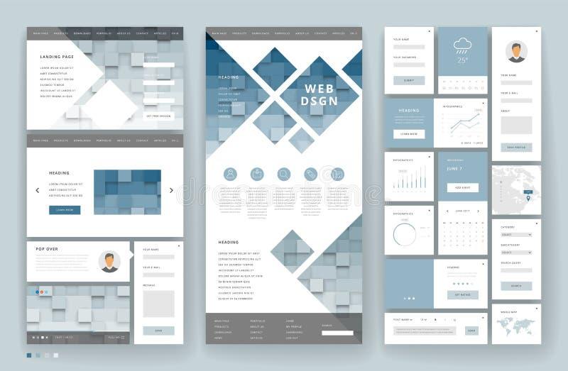 Conception de calibre de site Web avec des éléments d'interface photo stock