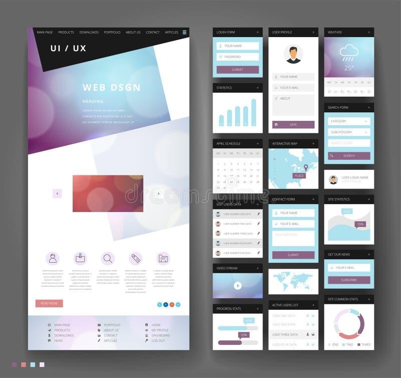 Conception de calibre de site Web avec des éléments d'interface photos stock