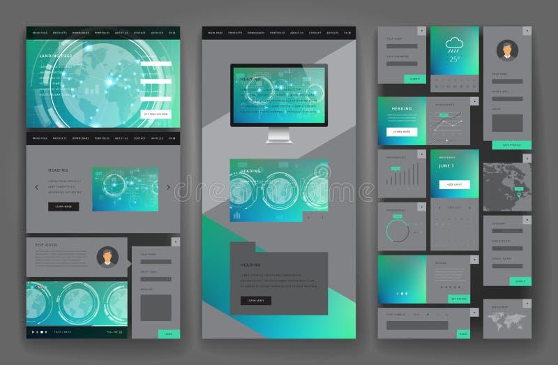 Conception de calibre de site Web avec des éléments d'interface photographie stock libre de droits