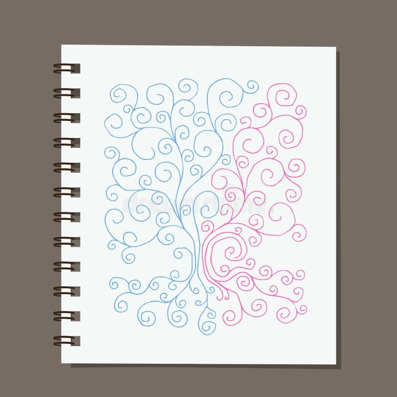 Conception de carnet, arbre généalogique abstrait avec des racines illustration libre de droits