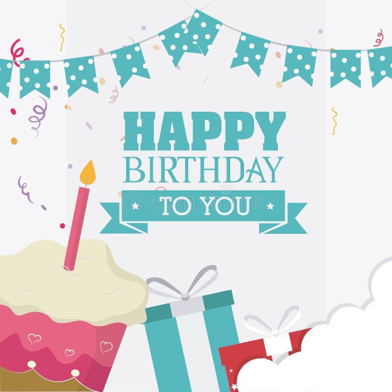 Conception de carte de joyeux anniversaire illustration libre de droits