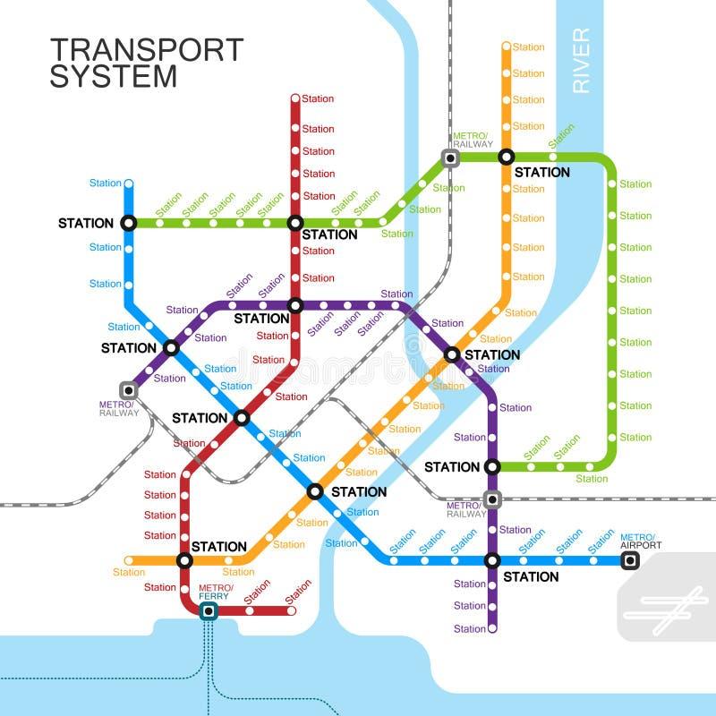 Conception de carte de métro ou de souterrain illustration stock
