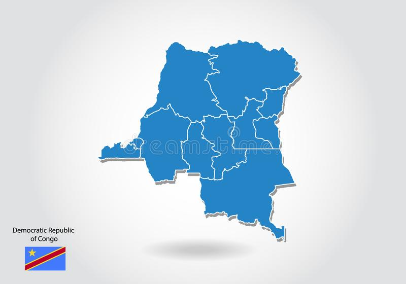 Conception de carte du République démocratique du Congo avec le style 3D Carte bleue de la République du Congo et drapeau nationa illustration libre de droits