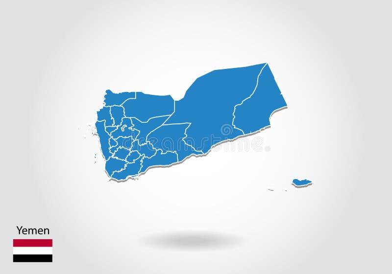 Conception de carte du Yémen avec le style 3D Carte bleue du Yémen et drapeau national Carte simple de vecteur avec la découpe, f illustration stock