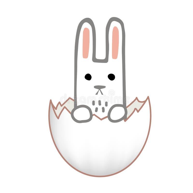 Conception de carte heureuse de Pâques Lapin doux à l'intérieur d'un oeuf de pâques criqué Illustration tirée par la main de vect illustration libre de droits